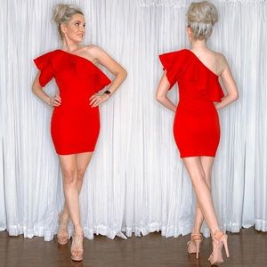 Red One Shoulder Couture Cocktail Party Dress
